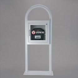 Cutie metalica pe suport cu fixare in podea pentru defibrilatoare AED